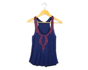 SAMPLE SALE Mosaic - Racerback Hand Stenciled Slouchy Scoop Neck Swing Tank Top in Heather Navy and Red - Women's S Q