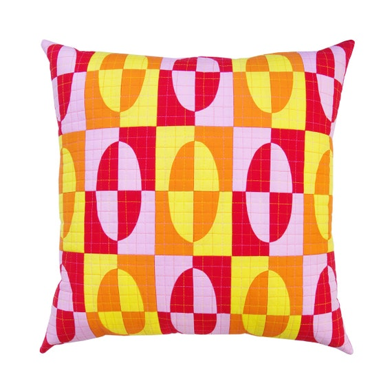 Modern Pillow Covers Etsy : Modern Patchwork Pillow Cover
