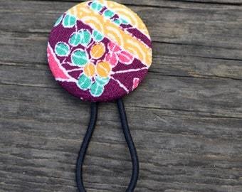 Royal Purple Hair Button - Kimono Fabric