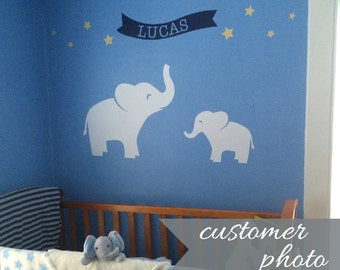 Elephant Nursery Decals, Baby Name Wall Decal, Star Wall Stickers, Childrens Name Decal, Jungle Nursery Decor