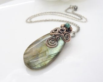 Labradorite necklace, blue green and brown, sterling silver labradorite gemstone necklace, with copper and turquoise, handmade jewelry