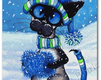 Siamese Cat Winter Snow  - Art Print by Bihrle ck218