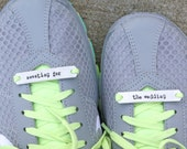Sweating For The Wedding Running Shoe Tags Plates for Fitness Inspiration Set of Two Shoe Tag