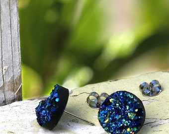Faux Druzy Stud Earrings - Black Glitter Blue and Teal Sparkles. Glitter Faux Drusy Posts.12mm
