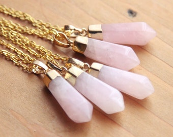 Polished Gold / Silver Dipped Rose Quartz Crystal Point Necklace - Pink Pastel Raw Smooth Plated Chain, Natural Healing Cloudy Layering