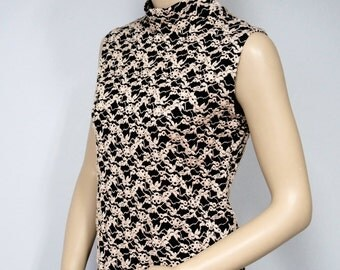 Vintage Blouse Shell Black Embroidered Sleeveless Blouse High Neck Stretchy Knit Black and Gold Women's Top Size Medium