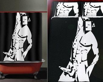sexy picasso male man art gay shower curtain duvet cover bath mat towel pillow cushion blanket bedding bathroom decor fabric queen king twin