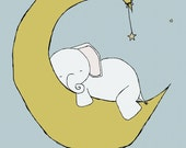 Nursery Art -- Baby Elephant Moon and Stars Dream -- Nursery Decor -- Children Art Print -- Kids Wall Art