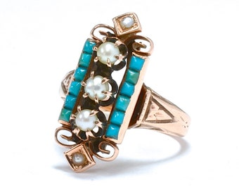 Victorian Aesthetic Movement Persian Turquoise & Pearl Ring - Size 6.75