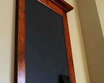 Maple Framed Chalkboard, Bulletin Board, or Dry Erase with Key Hooks, Storage Shelf  in Antique Cherry or Dark Walnut Stain