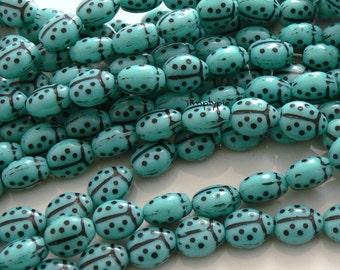 Ladybug Turquoise/Black Czech Glass Beads 25