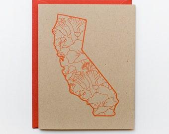 California Card - Poppies - Screen Print - A2 - original screen print - ooak - state flower - california poppy - kraft - orange