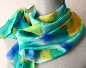 Silk Scarf Handpainted in Aqua Blue Spring Floral