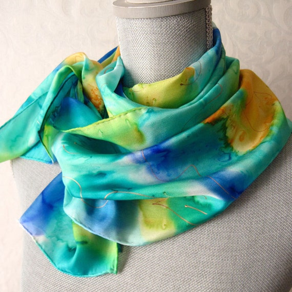 Silk Scarf Hand Painted in Aqua Blue Spring Floral