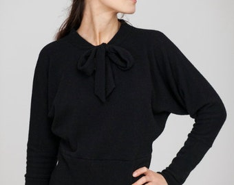 Autumn sweater | Evening sweater | Black bow sweater | LeMuse autumn sweater