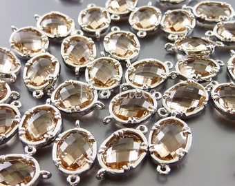 2 Faceted oval round champagne peach glass bezel links for making jewelry designs / supplies 5041R-CH (bright silver, champagne, 2 pieces)