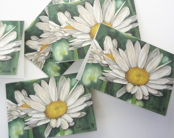 daisy cards, white daisies, flower card set, daisy invitation, botanical note cards, flowers stationery