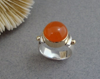 Orange Carnelian Ring in 18k Gold and Sterling Silver, Bright Orange Ring
