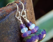 Lilac Stack Earrings - Small and Sweet - Beautiful Czech Glass Beads in Shades of Purple and Vintage Opalite w Argentium Silver Ear Wires