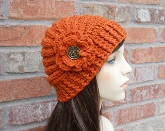 Burnt Orange Hat for Women Teen Hats Fall Fashion Hand Crocheted Items Knit Hat Winter Fashion Cute Hats with Flower Crochet Cloche