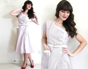 1940s Dress / 40s Dress / 1940s Asymmetrical Striped Day Dress