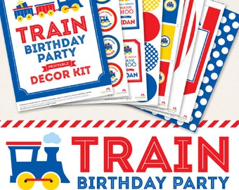Train birthday party printable decor kit - Over 45 pages of personalized designs!