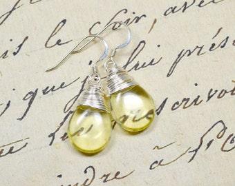 Pale Yellow Teardrop Earrings, Lemon Yellow Earrings, Wire Wrapped Earrings, Pastel Yellow Teardrop Dangles Silver Drops, Jonquil Droplets