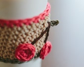 PDF PATTERN: Crochet Coffee Cozy and Small Appliques (Instant Digital Download)
