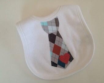 Baby Boy Bib - Neck Tie Baby Bib - Applique Baby Bib - Preppy Argyle