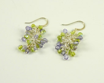 Lavender and Green Dangle Earrings with Sterling or Steel Ear Wires