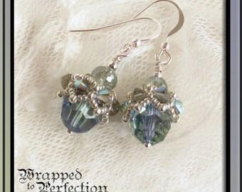 Swarovski Crystal Earrings / Lavender Blue Green Silver / Beaded Bead Cap / Wedding Formal Holiday / Beadwoven Cap