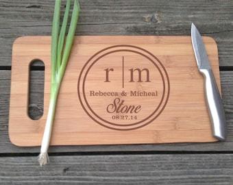 Monogram Cutting Board - Personalized Monogram Engraved BAMBOO Cutting Board 14 X 7.5 Custom Wedding Gift House Warming Gift Wooden Board