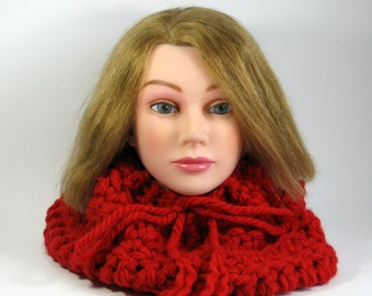 Clearance Sale Red Scarf Cowl Womans soft chunky neckwarmer  Ready to ship