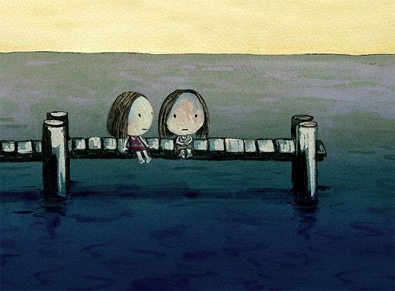 the jetty - sad girl empathy melancholy feel better friendship living room art pier wharf sympathy gift girl art melancholia affordable art