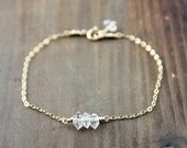 Herkimer Diamond Bracelet on your choice of 14k Gold Filled, or Sterling Silver