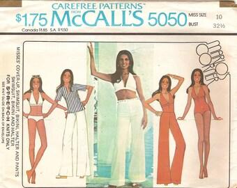 Beach Wardrobe Vintage 70s Pattern -Halter Top, Swimsuit, Bikini, Pants, Top, Bathing Suit Cover-up McCalls 5050 Marios Corner Size 10 UNCUT