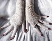 Whispering Spirit Lace Fingerless Gloves - Nude Latte Fishnet Embroidered Floral - Gothic Victorian Wedding Vampire Regency Tribal Austen