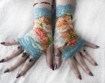 Rococo Dreams Lace Fingerless Gloves - Pool Blue Aqua Sea Orange Yellow Cream Green Mint Purple Floral - Bridal Wedding Spring Bridesmaid