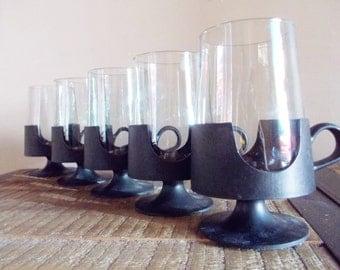 Set of Five Vintage Corning Glass Black Snap Hot or Cold Glasses
