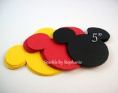 "Mickey Mouse Head 5"" l Mickey Head l Mickey Decoration l Mickey Baby Shower l Mickey Birthday Party l First Birthday Mickey Party Set of 12"