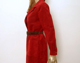 Vintage 1970s Coat Dress Red Faux Suede Coat Dress / Medium