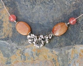Flower Necklace, Orange and Pink Necklace, Natural Stone Necklace, Strawberry Quartz Necklace, Aventurine Necklace, Handmade Necklace