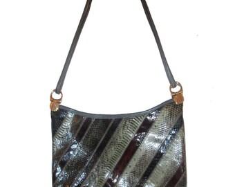 Vintage Varon Multicolor Snake Skin Crescent Shape Leather Handbag