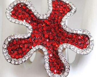 Funky Red Ring /Rhinestone/Statement Ring/Modern Ring/Holiday Ring/Adjustable/Under 20 USD