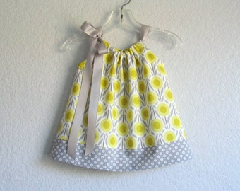 Baby Girls Grey and Yellow Pillowcase Dress - Organic Cotton Dress and Bloomers Outfit - Sizes Newborn, 3m, 6m, 9m, 12m or 18m