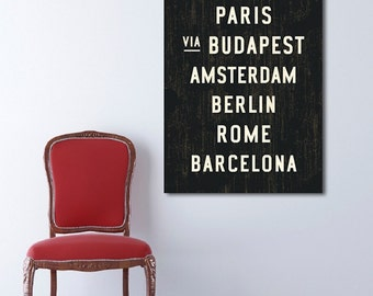 EUROPEAN Canvas Wall Decor, Travel Art, Industrial Home Decor, Contemporary Wall Art, Dorm Wall Decor, Typography Art, Hipster Art. 24 x 36.