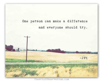 Inspirational Quote Photography Print, Typography, Make a Difference