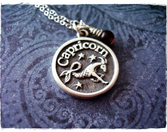 Sterling Silver Capricorn Necklace - Sterling Silver Capricorn Charm on a Delicate Sterling Silver Cable Chain or Charm Only