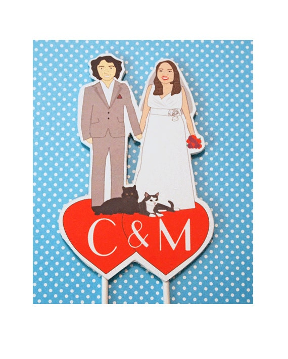 Custom Wedding Cake Topper-Bride Groom Cats Heart Initials