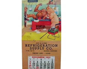 """1951 Monkey Cartoon Wall Calendar by Lawson Wood """"What a Line!"""""""